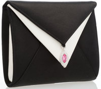 "Judith Leiber Black & White Satin Evening Bag Excellent to Pristine Condition 6.5"" Width x 6"" He"
