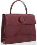 "Luxury Accessories:Accessories, Cartier Burgundy Leather Top Handle Bag. ExcellentCondition. 9"" Width x 11""Length x 4"" Depth, 4"" ShoulderDrop. ..."