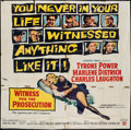 "Movie Posters:Mystery, Witness for the Prosecution (United Artists, 1958). Six Sheet (78""X 78""). Mystery.. ..."