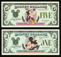 Miscellaneous:Other, Disney Dollars - First Series of First Issue.. ... (Total: 2 notes)