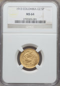 Colombia, Colombia: Republic gold 2 1/2 Pesos 1913 MS64 NGC,...