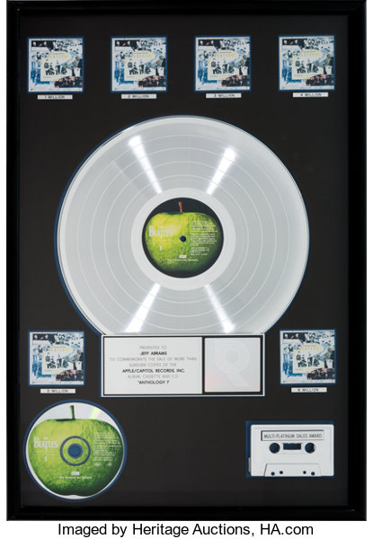Beatles Anthology 1 RIAA Multi-Platinum Record Award (Apple