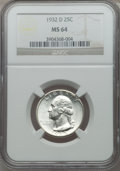 Washington Quarters, 1932-D 25C MS64 NGC....