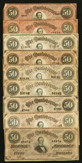 Confederate Notes:1864 Issues, T66 $50 1864, Nine Examples.. ... (Total: 9 notes)