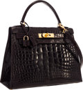 "Luxury Accessories:Bags, Hermes 28cm Shiny Marron Fonce Alligator Sellier Kelly Bag withGold Hardware. Very Good Condition. 11"" Width x 8""Hei..."
