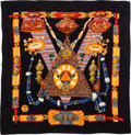 "Luxury Accessories:Accessories, Hermes 140cm Black & Orange ""Tibet,"" By Caty Latham Cashmereand Silk Scarf . Very Good to Excellent Condition . 55""W..."
