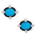 Estate Jewelry:Cufflinks, Turquoise, Black Onyx, White Gold Cuff Links, Eli Frei. ...