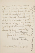 Autographs:Authors, [Mark Twain]. Samuel Clemens Autograph Note Signed on a FacsimileLetter with a Second Signature....