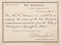 Autographs:U.S. Presidents, [Abraham Lincoln]. Invitation to Ride President Lincoln's Funeral Train,...