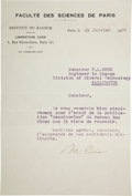 Autographs:Inventors, Marie Curie Typed Letter Signed...