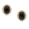 Estate Jewelry:Earrings, Onyx, Diamond, Gold Earrings. ...