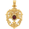 Estate Jewelry:Pendants and Lockets, Garnet, Gold Pendant. ...