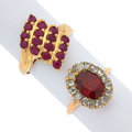 Estate Jewelry:Rings, Ruby, Glass, Diamond, Gold Rings. ... (Total: 2 Items)