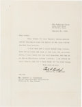 Autographs:Celebrities, Charles Lindbergh Typed Letter Signed....