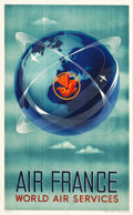"Movie Posters:Miscellaneous, Air France: World Air Services Travel Poster (1950s). Poster (24.5""X 39.25"").. ..."