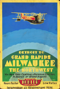 "Kohler Air Travel (c.1931). Poster (18.5"" X 27.5""). ""Detroit to Grand Rapids/ Milwaukee/The Northwest.&qu..."