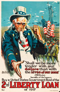 "Movie Posters:War, World War I Propaganda (U.S. Government Printing Office, 1917). 2ndLiberty Loan Poster (19.5"" X 30"") ""Shall We Be More Tend..."