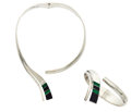Estate Jewelry:Suites, Malachite, Black Onyx, Sterling Silver Suite. ... (Total: 2 Items)