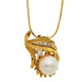 Estate Jewelry:Necklaces, Cultured Pearl, Clear Stone, Gold Necklace. ...