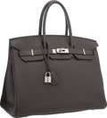 """Luxury Accessories:Bags, Hermes 35cm Graphite Clemence Leather Birkin Bag with Palladium Hardware. Very Good to Excellent Condition. 14"""" Width x 10..."""