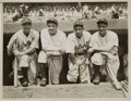 Baseball Collectibles:Photos, 1934 Babe Ruth, Lou Gehrig & Detroit Tigers Legends OriginalNews Photograph, PSA/DNA Type 1....