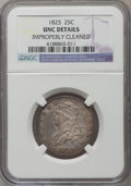 Bust Quarters, 1825/4/(2) 25C B-2, R.2 -- Improperly Cleaned -- NGC Details. Unc. Autumn-brown margins encompass slate-gray fields and mot...