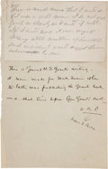 Autographs:U.S. Presidents, [Mark Twain]. Ulysses S. Grant Unsigned Autograph Note....