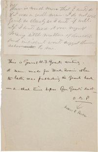 [Mark Twain]. Ulysses S. Grant Unsigned Autograph Note