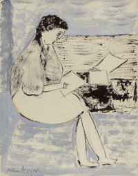 MILTON AVERY (American, 1885-1965) Studious Girl, 1962 Oil on paper on board 22 x 17-1/4 inches (