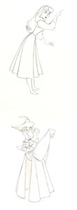 Animation Art:Production Drawing, Sleeping Beauty Briar Rose and the Scarecrow PrinceAnimation Drawing Group (Walt Disney, 1959).... (Total: 2 OriginalArt)
