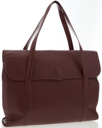 "Cartier Burgundy Leather Shoulder Bag Good Condition 17"" Width, x 15"" Height x 3"" Depth, 9"" Hand"