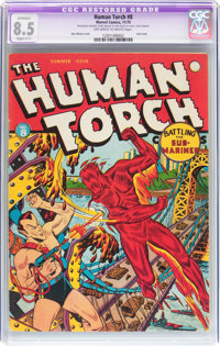 The Human Torch #8 (Timely, 1942) CGC Apparent VF+ 8.5 Slight (C-1) Off-white to white pages