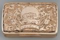 Silver Smalls:Other , A 14K GOLD BOX, probably American, circa 1850. 0-3/4 x 2-1/2 x1-1/2 inches (1.9 x 6.4 x 3.8 cm). 1.27 troy ounces. ...