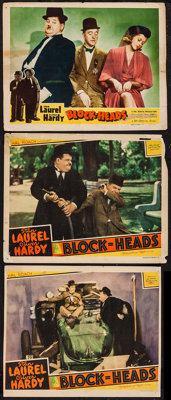 "Block-Heads (MGM, 1938/Film Classics, R-1947). Lobby Cards (3) (11"" X 14""). Comedy. ... (Total: 3 Items)"