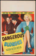 "Movie Posters:Crime, Dangerous Blondes (Columbia, 1943). Window Card (14"" X 22"").Crime.. ..."