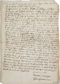 Autographs:Military Figures, [Colonial America] and [Indians]. A Petition Requesting Payment for the Capture of Escaped Indians....