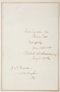 Autographs:Military Figures, [Civil War]. Union Major Robert Anderson Signature....