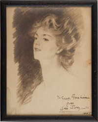 Ethel Barrymore Portrait Inscribed to George Gershwin