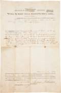 Autographs:U.S. Presidents, Andrew Johnson Land Deed Signed...