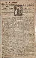 Miscellaneous:Newspaper, [Revolutionary War]. Newspaper: The Independent Chronicle andthe Universal Advertiser....