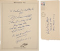 Autographs:Celebrities, Muhammad Ali Autograph Note Signed,...