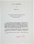 Autographs:Authors, Harper Lee Signed Typescript From To Kill A Mockingbird....