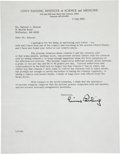 Autographs:Celebrities, [Nobel Laureate]. Linus Pauling Typed Letter Signed....