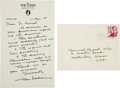 Autographs:Artists, Charles Addams Autograph Letter Signed....