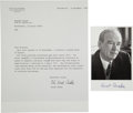 Autographs:Celebrities, [Nobel Laureate]. Ernst Ruska Typed Letter Signed with anAdditional Signed Photograph....
