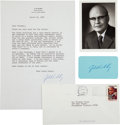 Autographs:Celebrities, [Nobel Laureate]. Jack Kilby Typed Letter and Card Signed...(Total: 4 )