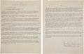 Autographs:U.S. Presidents, [Kennedy Assassination]. Group of Judge Sarah T. Hughes SignedMaterial....