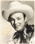 Movie/TV Memorabilia:Autographs and Signed Items, A Roy Rogers Signed Oversized Black and White Photograph, 1945....