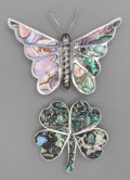 Silver Smalls:Other , TWO LOS BALLESTEROS SILVER AND ABALONE BROOCHES, Taxco, Mexico,circa 1950. Marks: LOS BALLESTEROS, TAXCO, STERLING 925, H...(Total: 2 )