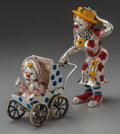 Silver Smalls:Other , A THREE PIECE TIFFANY & CO. SILVER AND ENAMEL CIRCUS CLOWNMOTHER AND BABY IN CARRIAGE, Designed by Gene Moore, Tiffany &Co... (Total: 3 )